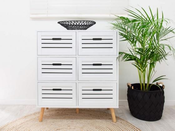 Tủ ngăn kéo Mari 6 hộc gỗ cao su - Cozino
