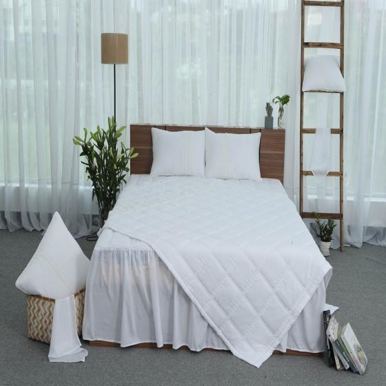 Chăn hè thu thiết kế cotton Grand - 160 x 210 - Trắng
