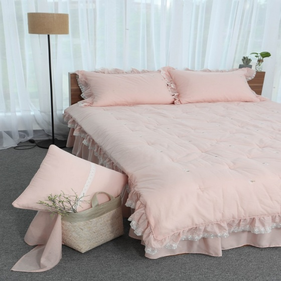 Chăn thu đông thiết kế thêu 100% cotton - linen Grand - 160 x 210 - Hồng