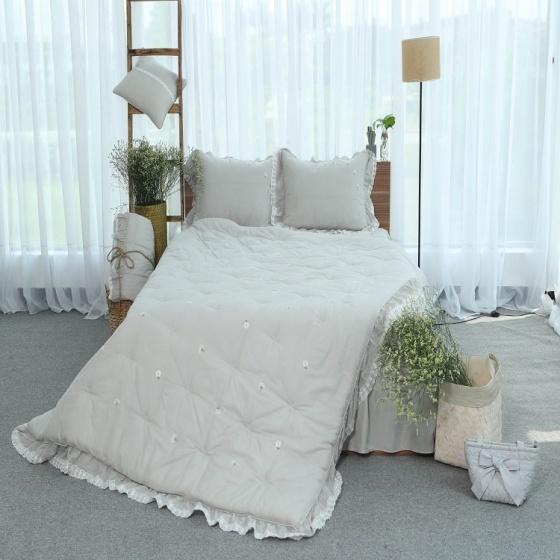 Chăn thu đông thiết kế thêu 100% cotton - linen Grand - 160 x 210 - Xám nhạt