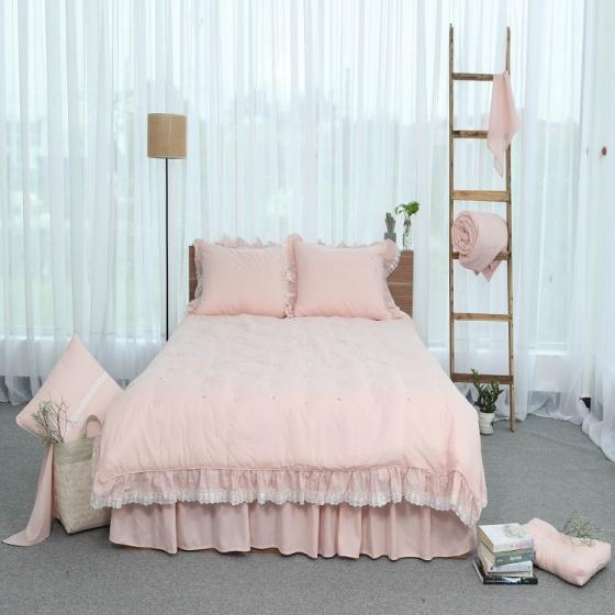 Chăn thu đông thiết kế thêu 100% cotton - linen Grand - 220 x 240 - Hồng
