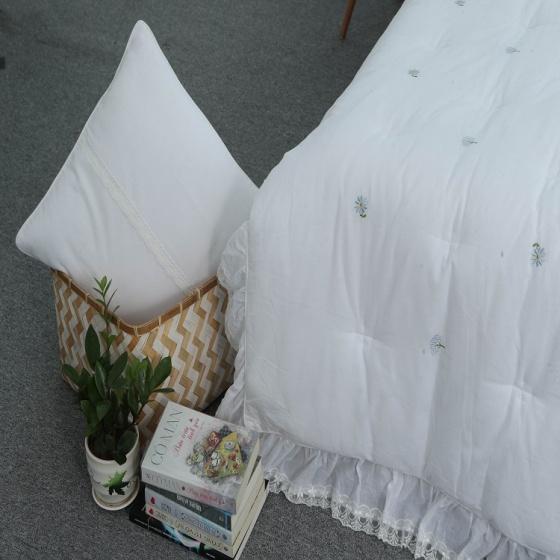 Chăn thu đông thiết kế thêu 100% cotton - linen Grand - 180 x 220 - Trắng