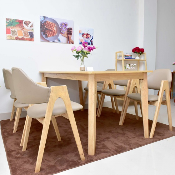 Bộ bàn ăn Emma màu tự nhiên 6 ghế