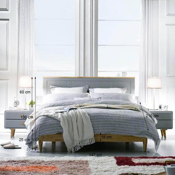 Giường đôi Rora - Grey 2m