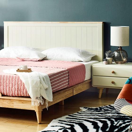Giường đôi Rora - Ivory gỗ 1m6