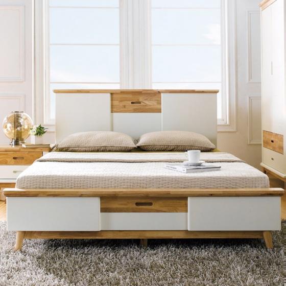 Giường đôi Vivid gỗ tự nhiên 1m6