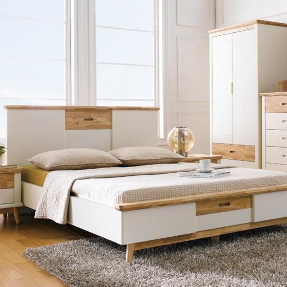 Giường đôi Vivid gỗ tự nhiên 1m8