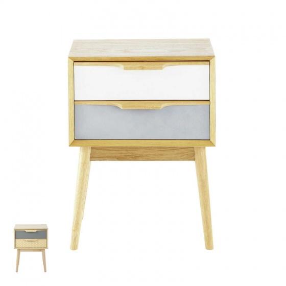 Tủ đầu giường 2 ngăn kéo Fjord gỗ tự nhiên