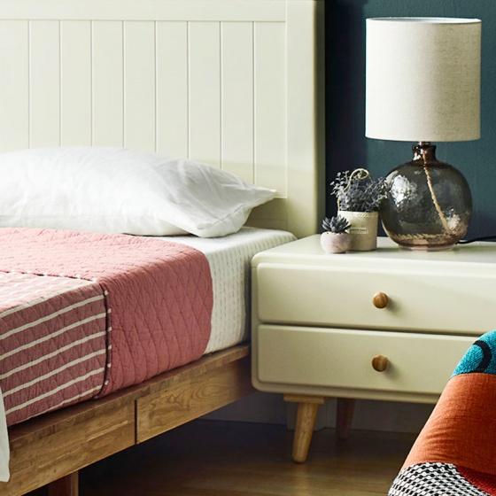 Tủ đầu giường 2 ngăn kéo Rora - Ivory - IBIE