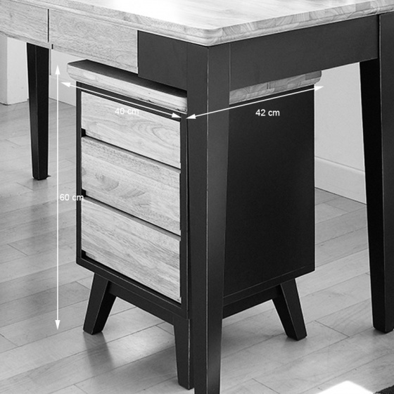 Tủ 3 ngăn kéo NB-Blue gỗ tự nhiên