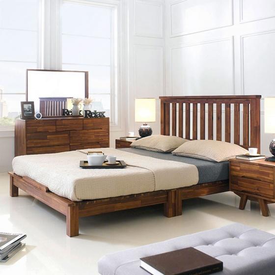 Giường đôi Coco gỗ tràm 1m8