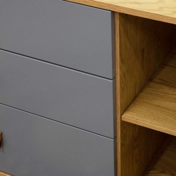 Tủ trưng bày Blake gỗ tự nhiên màu ghi - Cozino