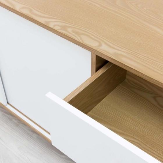 Tủ trưng bày lớn Blake gỗ tự nhiên màu trắng - Cozino