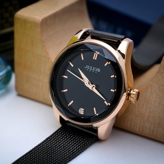 Đồng hồ nữ Julius Hàn Quốc dây thép JA-1040 (đen)