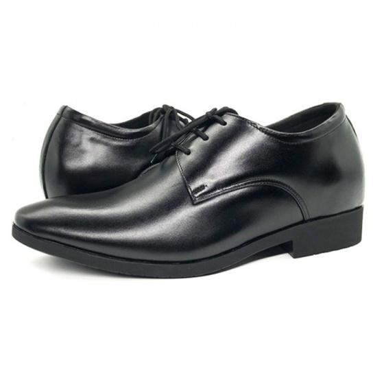 Giày công sở tăng chiều cao nam tăng cao 6cm da bò nguyên tấm Lucacy N2101BD (đen) -Tặng ví da cao cấp