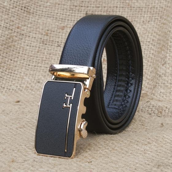 Dây nịt - thắt lưng nam da bò khóa tự động chữ H cao cấp Manzo 292.V (tặng móc khóa da bò thật)