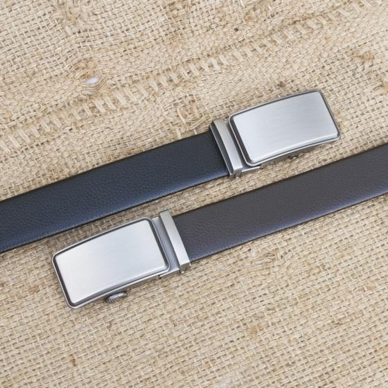 Dây nịt - thắt lưng nam da bò khóa tự động mặt trơn cao cấp Manzo 291.V (tặng móc khóa da bò thật)