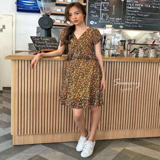 Đầm xòe phối bèo Kimi  - ad190057