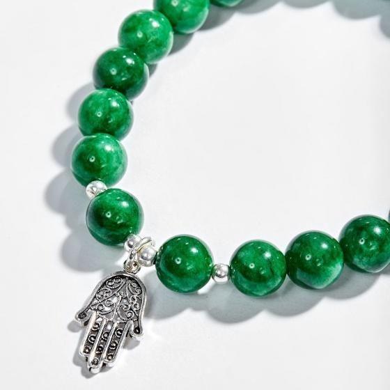Vòng tay đá cẩm thạch phối bàn tay hamsa bạc Ngọc Quý Gemstones