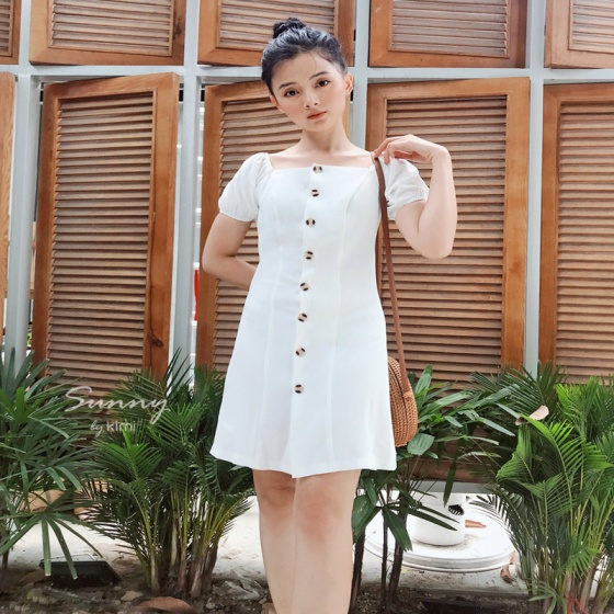 Đầm cổ vuông tay bồng Kimi - ad190066