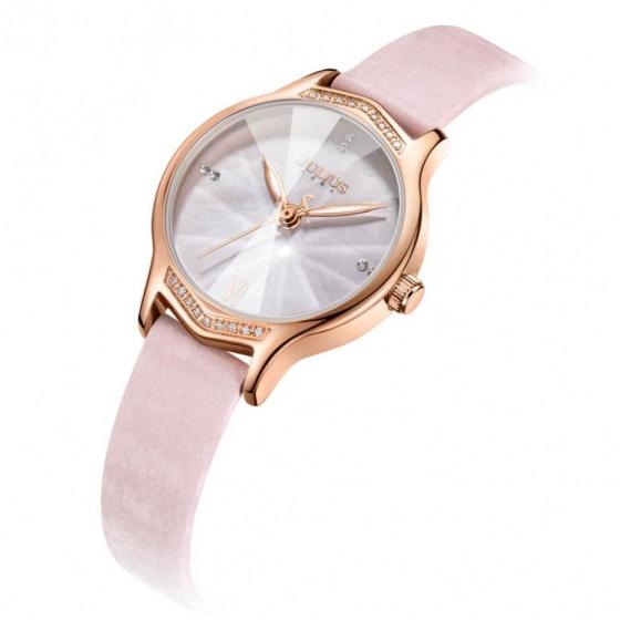 Đồng hồ  nữ JA-1155B Juliius Hàn Quốc dây da (hồng)