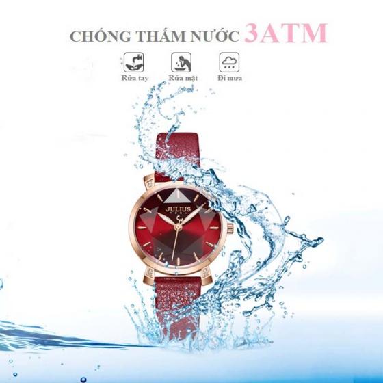 Đồng hồ nữ JA-1158B Juliius Hàn Quốc dây thép (đỏ )