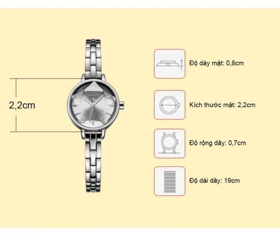 Đồng hồ nữ Julius Hàn Quốc JA-1162 dây thép mặt ngôi sao 3D