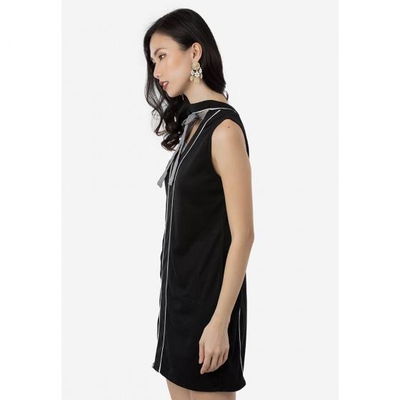 Đầm suông Amun thun sát nách phối nơ màu đen