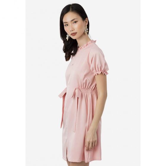 Đầm suông Amun cổ phối bèo màu hồng