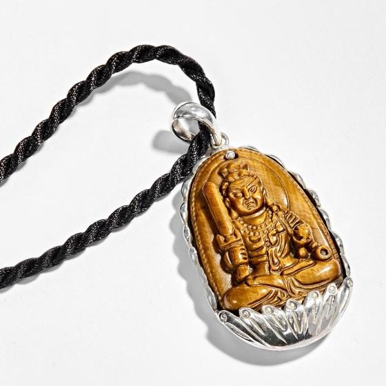 Mặt dây chuyền Phật Bản Mệnh Bất Động Minh Vương đá mắt hổ bọc bạc tuổi dậu - Ngọc Quý Gemstones