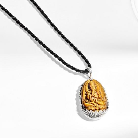 Mặt dây chuyền Phật Bản Mệnh Đại Nhật Như Lai đá mắt hổ bọc bạc tuổi mùi thân - Ngọc Quý Gemstones