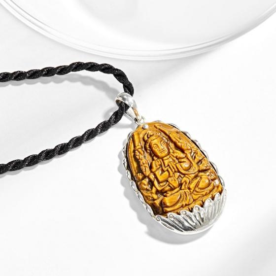 Mặt dây chuyền Phật Bản Mệnh Thiên Thủ Thiên Nhãn Bồ Tát đá mắt hổ bọc bạc tuổi Tý - Ngọc Quý Gemstones