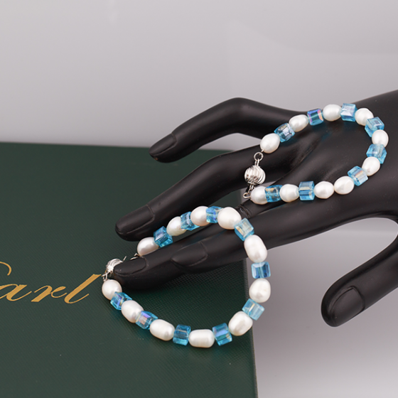 Opal set vòng tay ngọc trai Mẹ và Bé oval trắng và pha lê xanh biển _T6