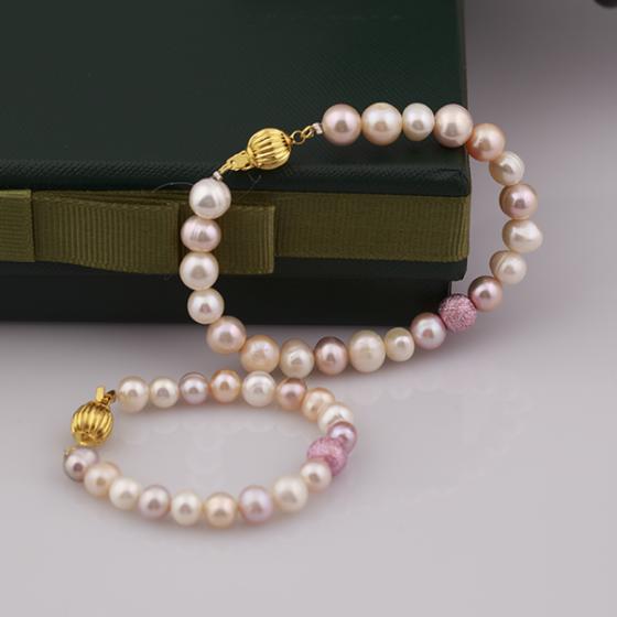Opal Set vòng tay Ngọc Trai Mẹ và Bé và charm hồng  _T6