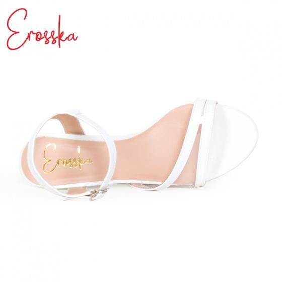 Giày nữ giày cao gót block heel erosska phối mica trong suốt quai mảnh tinh tế cao 7cm - EM020 (WH)
