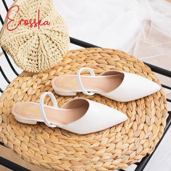 Giày nữ, giày cao gót slingback Erosska mũi nhọn cao 2cm phối dây thời trang kiểu dáng basic - EL002 (NU)