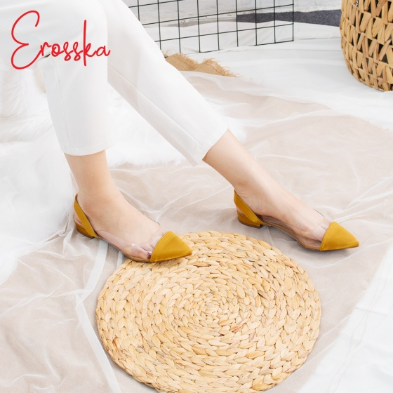 Giày nữ, giày cao gót slingback thân trong suốt Erosska cao 1cm phối dây thời trang - EL003 (RE)