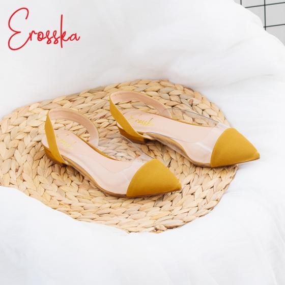 Giày nữ, giày cao gót Slingback thân trong suốt Erosska cao 1cm phối dây thời trang - EL003 (NU)