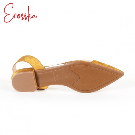 Giày nữ, giày cao gót Slingback thân trong suốt Erosska cao 1cm phối dây thời trang - EL003 (BA)