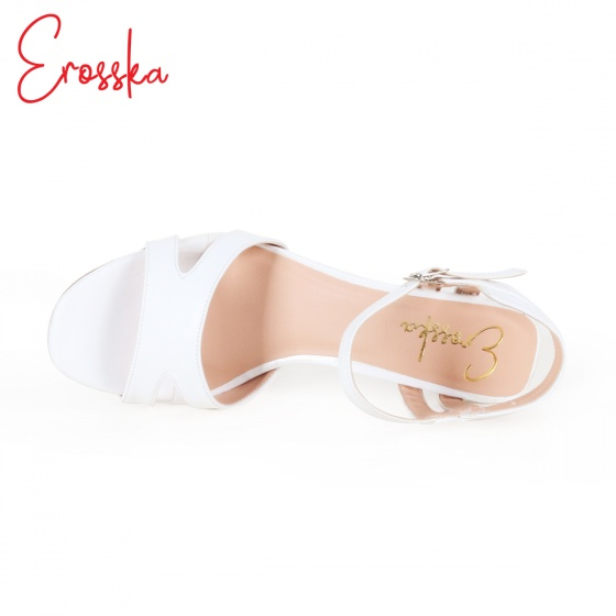 Giày nữ, giày cao gót block heel đế vuông Erosska cao 7cm cách điệu - EM009 (BR)
