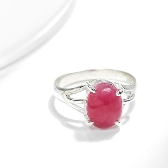 Nhẫn bạc đá Ruby oval - Ngọc Quý Gemstones