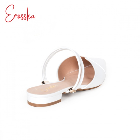 Giày nữ, giày cao gót kitten heel Erosska mũi nhọn cao 2cm mũi nhọn phối dây thời trang - EL004 (WH)