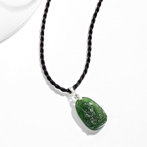 Mặt dây chuyền phật bản mệnh tuổi Mão Văn thù bồ tát đá ngọc bích - Ngọc Quý Gemstones