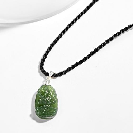 Mặt dây chuyền phật bản mệnh tuổi Sửu Dần Hư không tạng bồ tát đá ngọc bích Ngọc Quý Gemstones