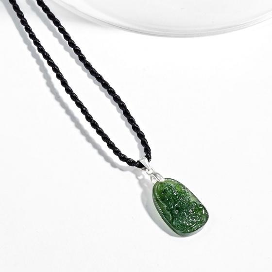 Mặt dây chuyền phật bản mệnh tuổi Thìn Tỵ Phổ hiền bồ tát đá ngọc bích Ngọc Quý Gemstones