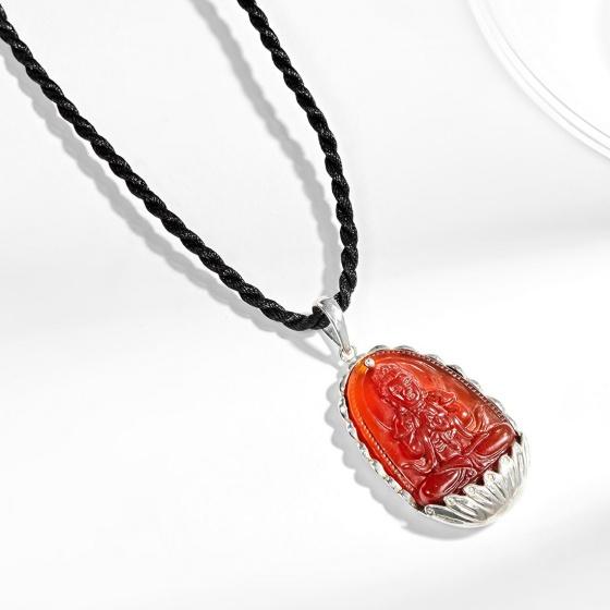 Mặt dây chuyền phật bản mệnh tuổi Mùi Thân Đại nhật như lai đá mã não đỏ bọc bạc Ngọc Quý Gemstones
