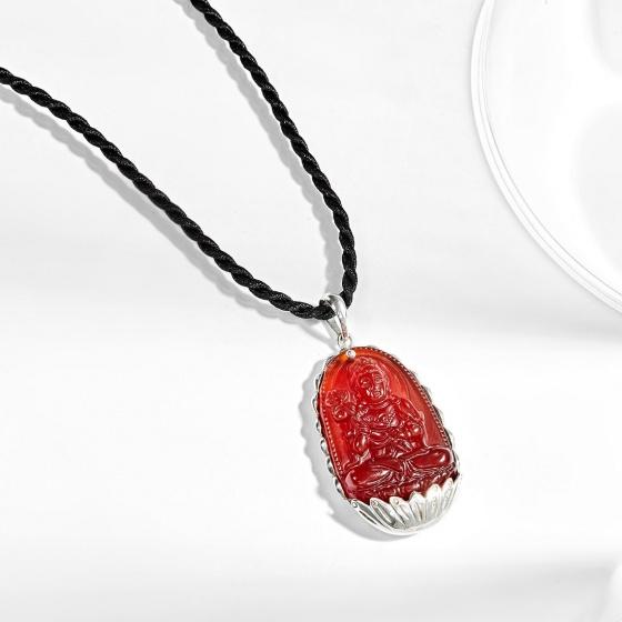 Mặt dây chuyền phật bản mệnh tuổi Ngọ Đại thế chí bồ tát đá mã não đỏ bọc bạc Ngọc Quý Gemstones