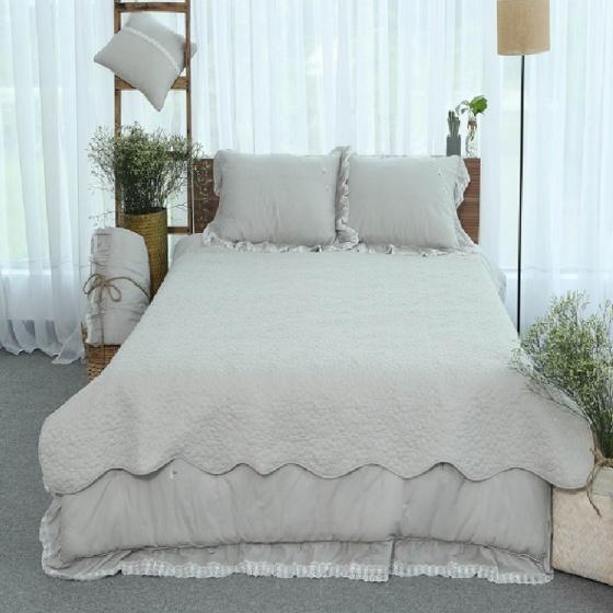 Tấm trải giường thiết kế thêu hoa Grand 160 x 220 - Xám nhạt