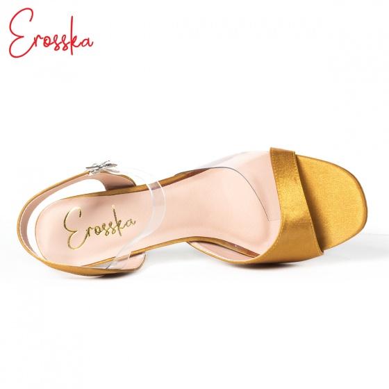 Giày nữ, giày cao gót block heel Erosska đế trụ phối quai trong sắc màu thời trang - EM013 (YE)