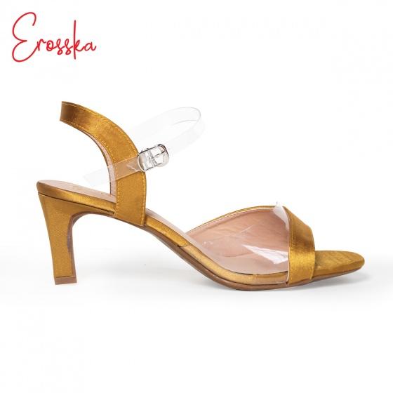Giày nữ, giày cao gót block heel Erosska đế trụ phối quai trong sắc màu thời trang - EM013 (NU)